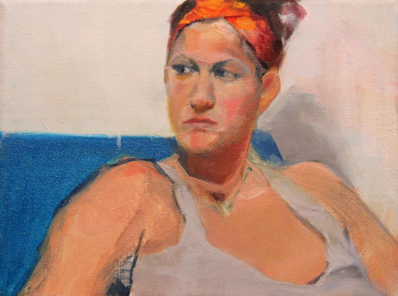 Girl Sitting Oil Painting