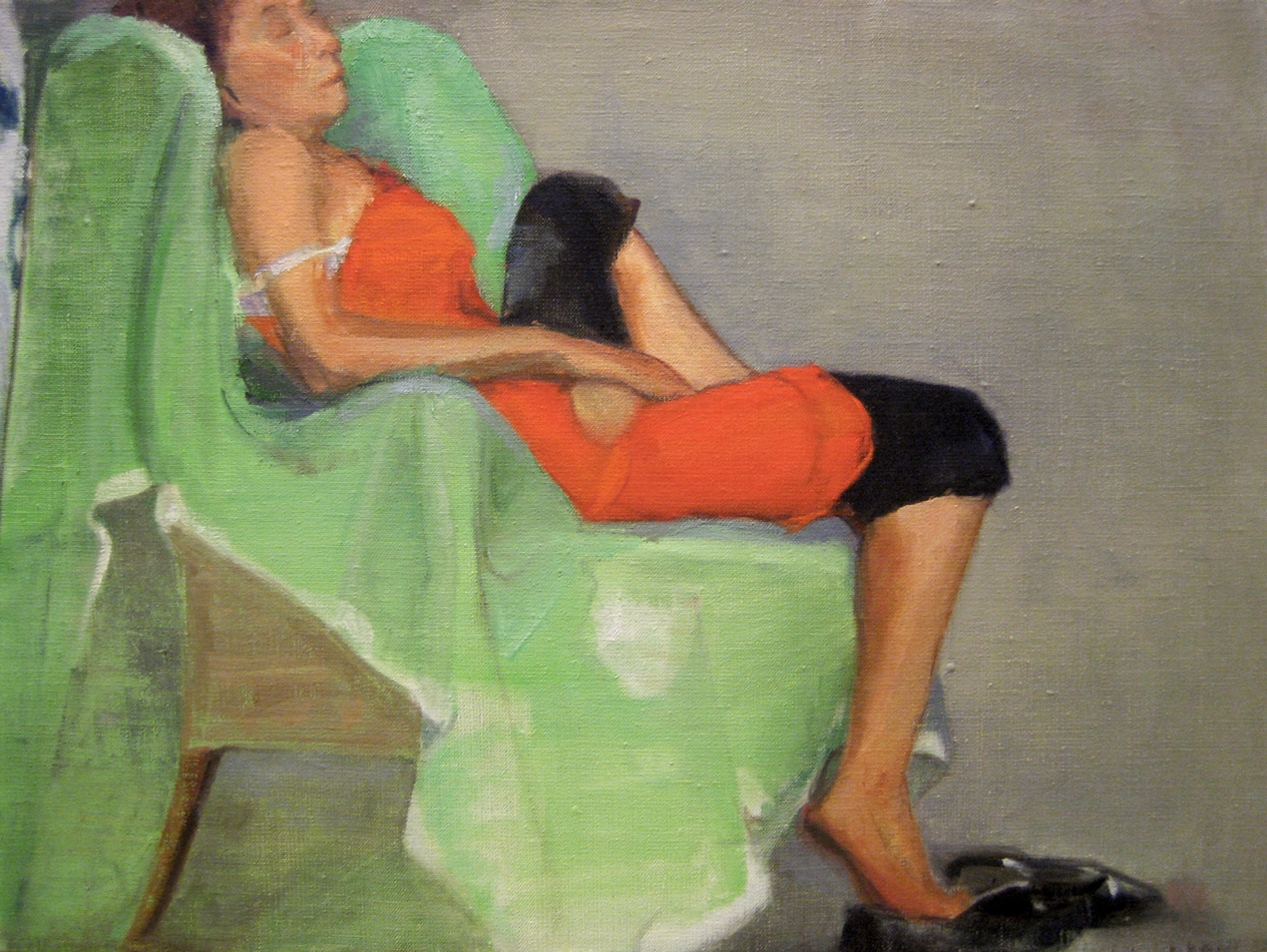 Green Chair Oil Painting