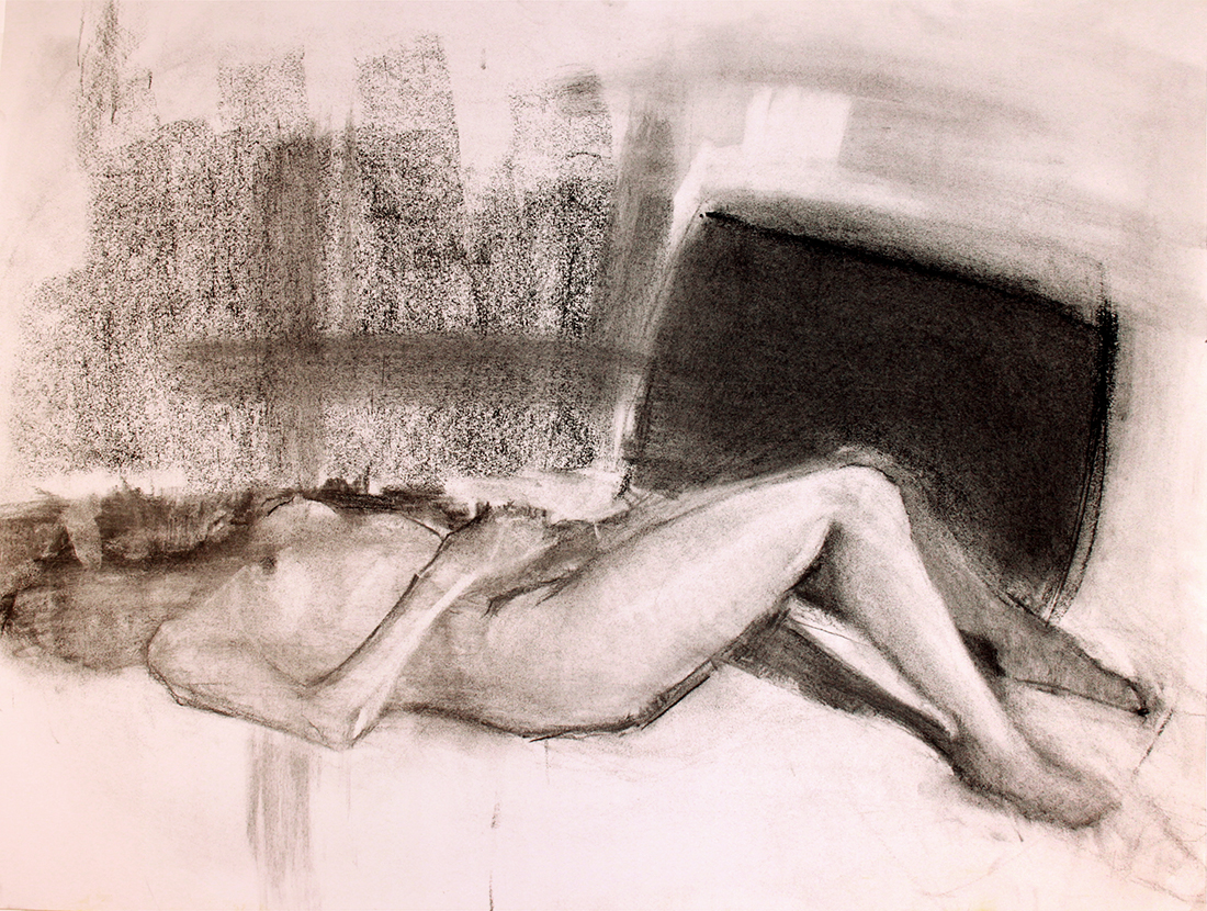 Urban Rest Charcoal on Paper